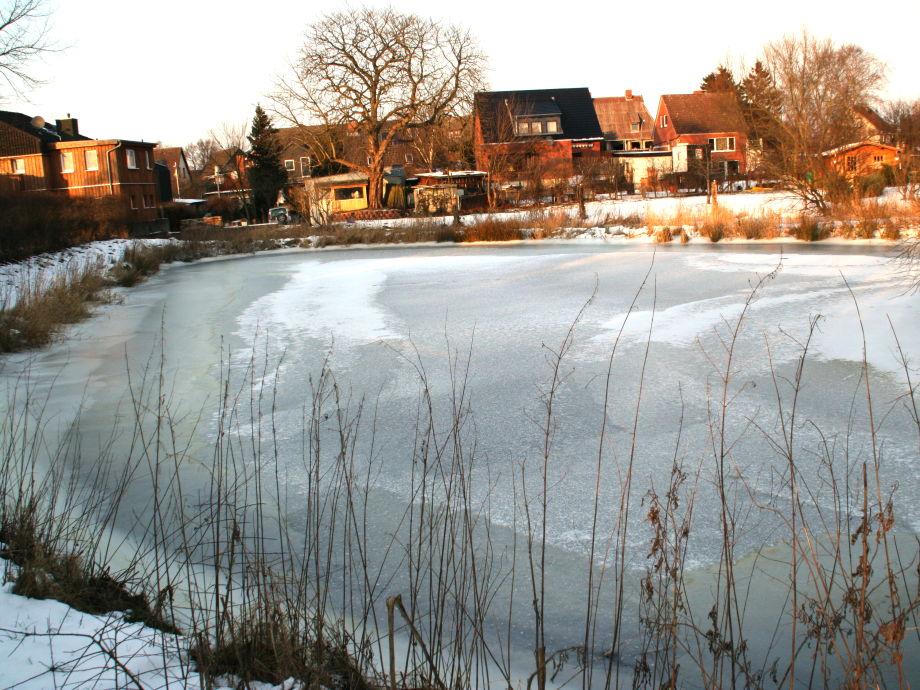 Ferienwohnung 1 alte wasserm hle probstei ostsee kieler for Teich im winter