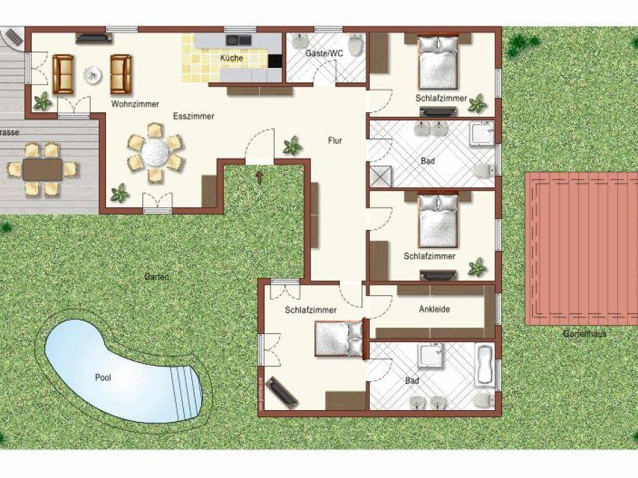 Grundriss villa mit pool  Villa Carina, Languedoc-Roussillon, Hérault - Frau Romana Peter