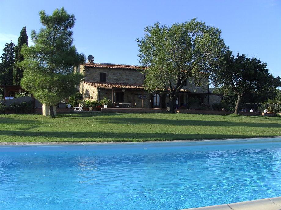 Blick vom Pool zum Haus