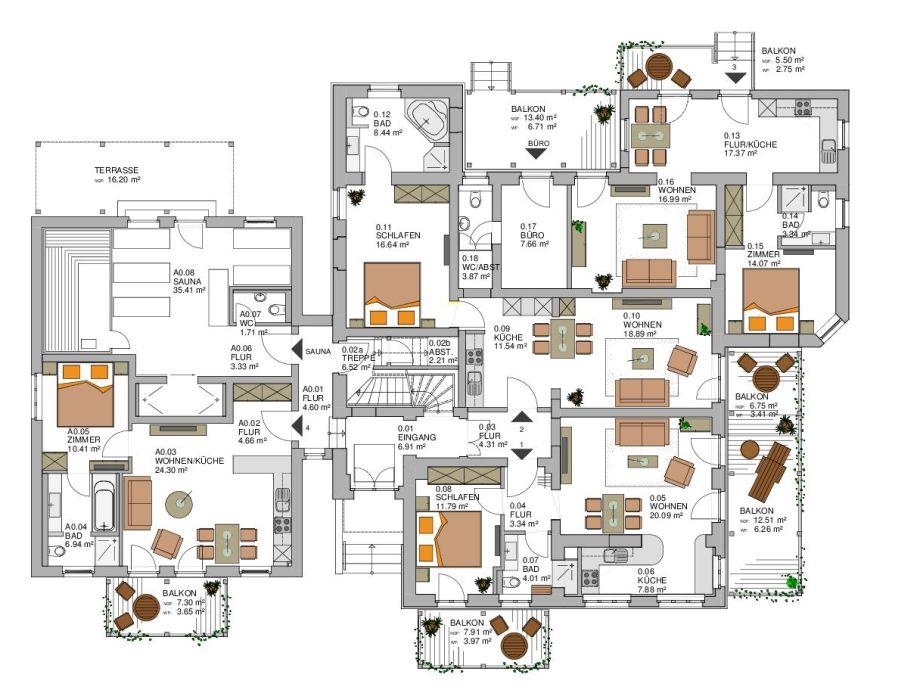 2 raum apartment in der villa minerva ostsee for Motel one zimmer grundriss