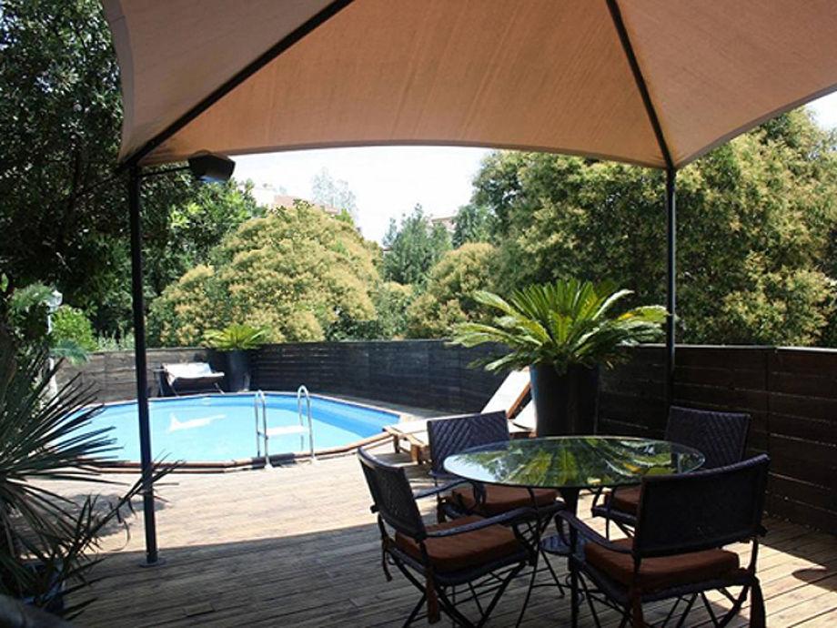 Schattige und sonnige Terrassen rund um den Pool