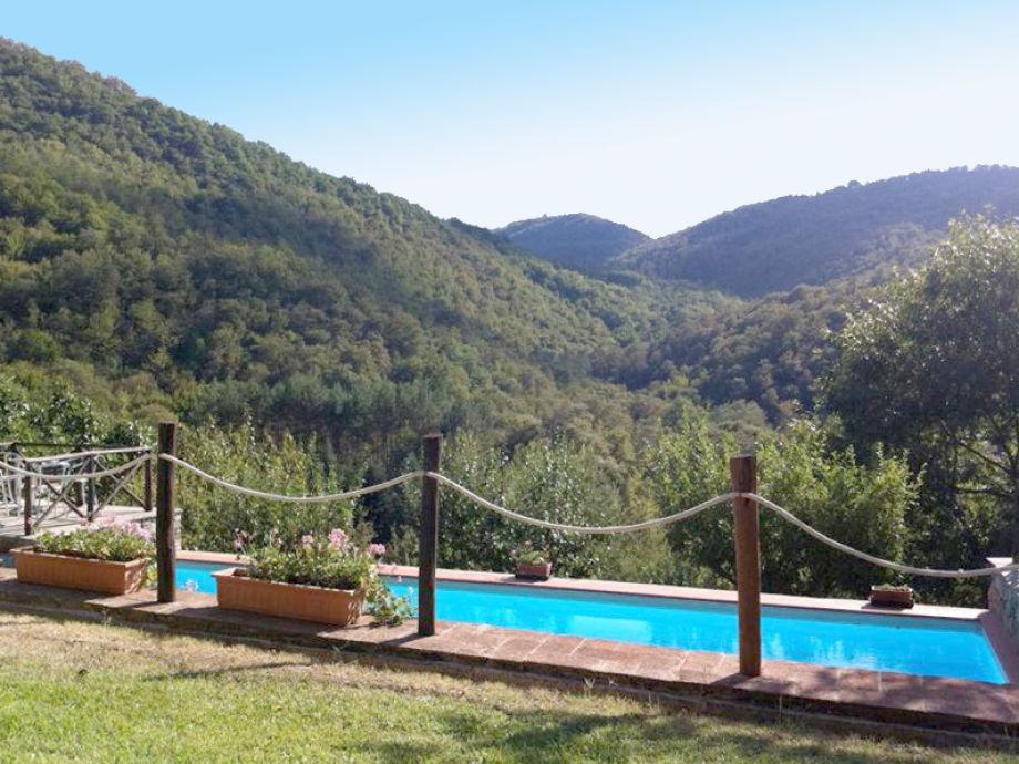 Pool mit Blick auf die toskanische Landschaft