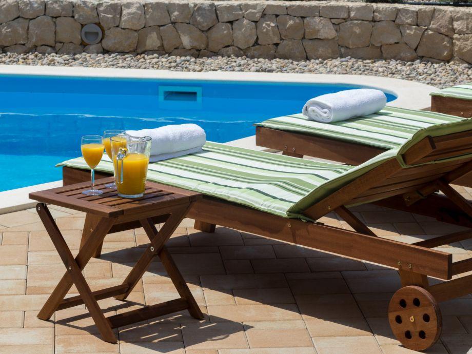 Der Pool mit Sonnenliegen