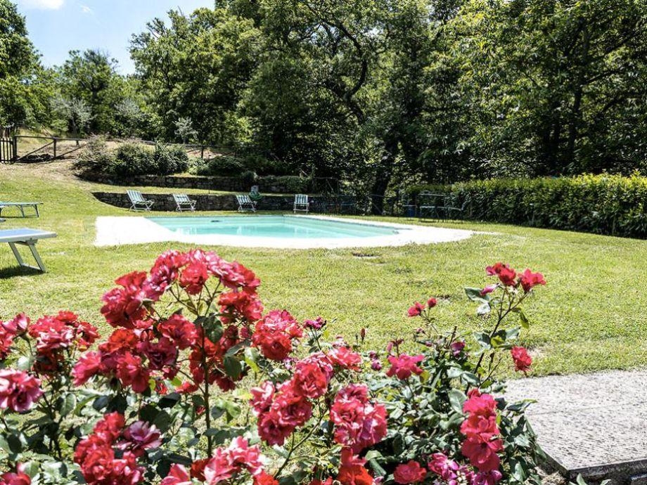 Idyllisch angelegter Garten mit Pool