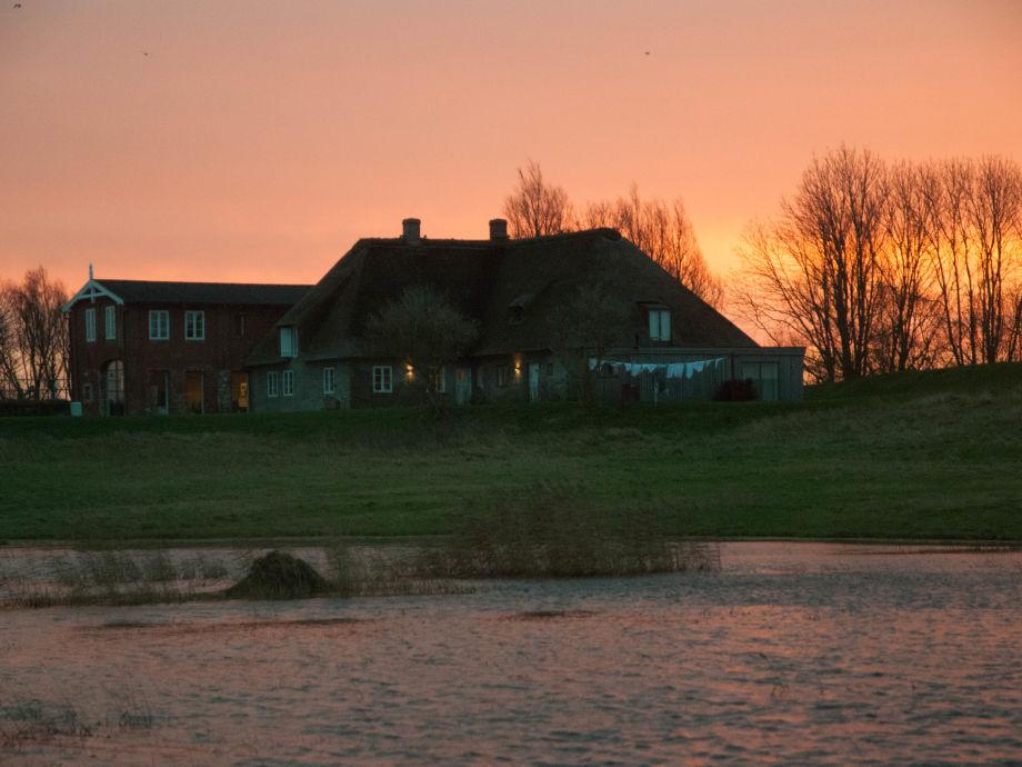 Sonnenaufgang hinterm Ferienhaus