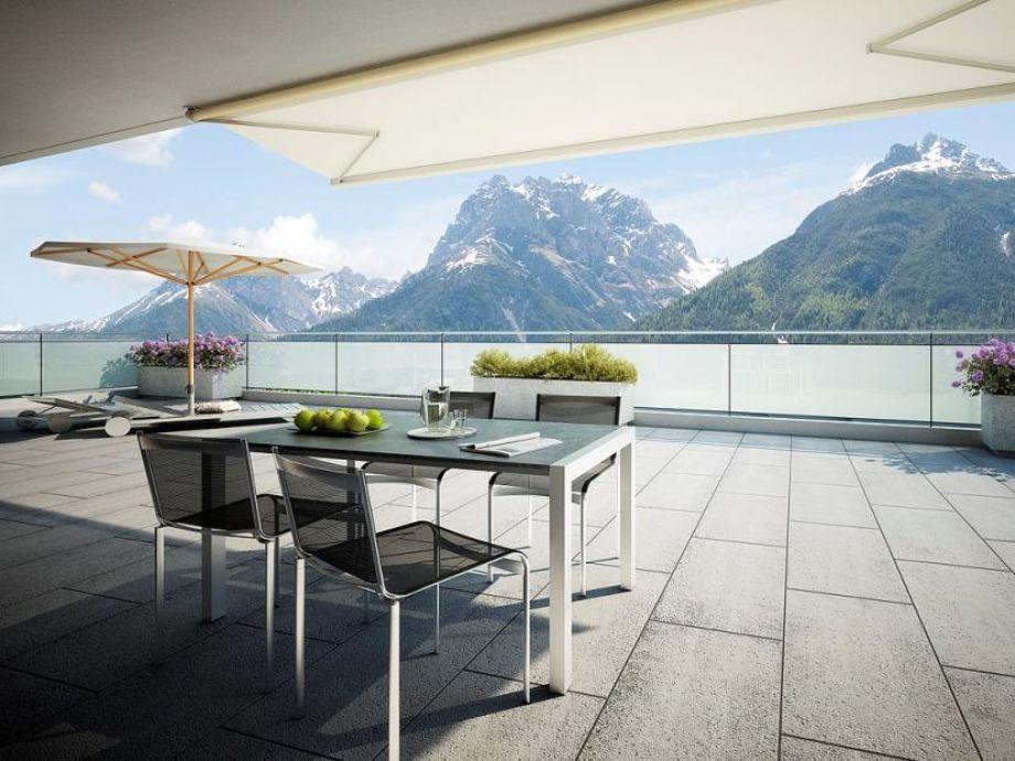 Große Terrasse mit atemberaubendem Panorama-Ausblick