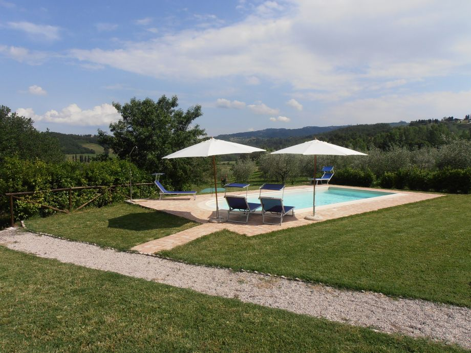 Der Pool mit Blick auf die hügelige Landschaft