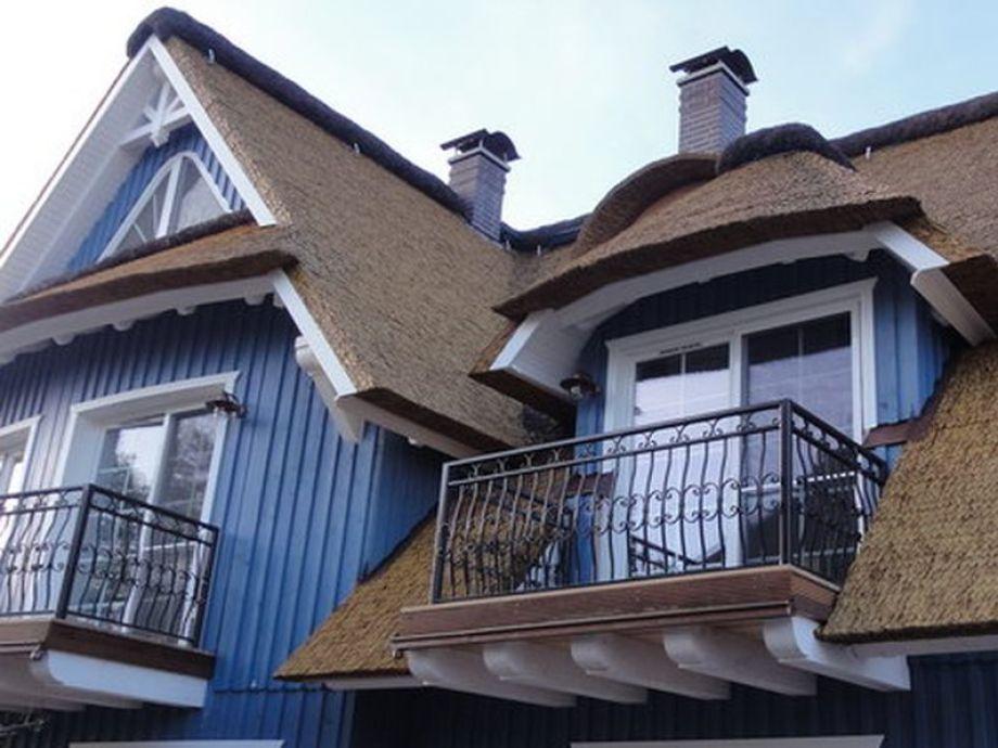 Blick auf die Ferienwohnung mit Balkon