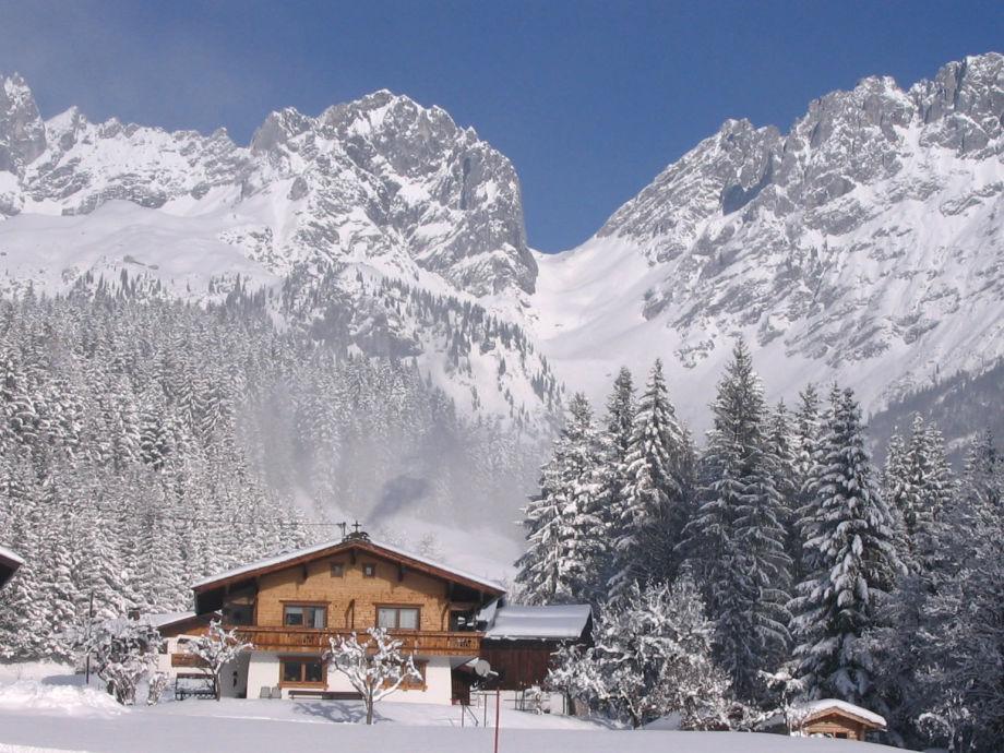 Ansicht Richtung Wilder Kaiser im Winter