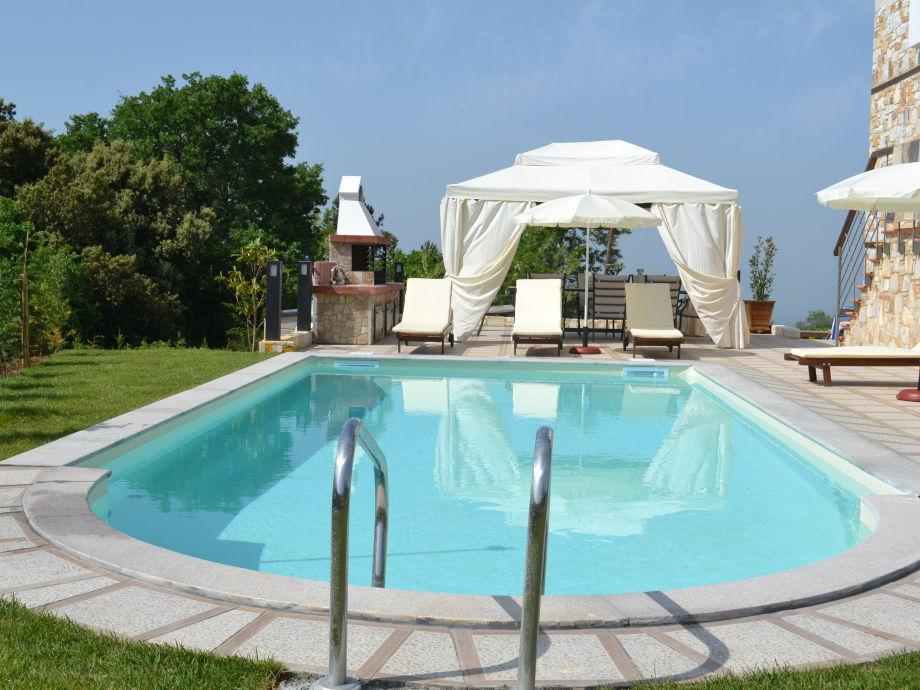 Schwimmbad und Terrasse mit Grill