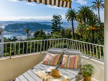 Ferienwohnung - fantastischer Blick zum Meer + über Nizza