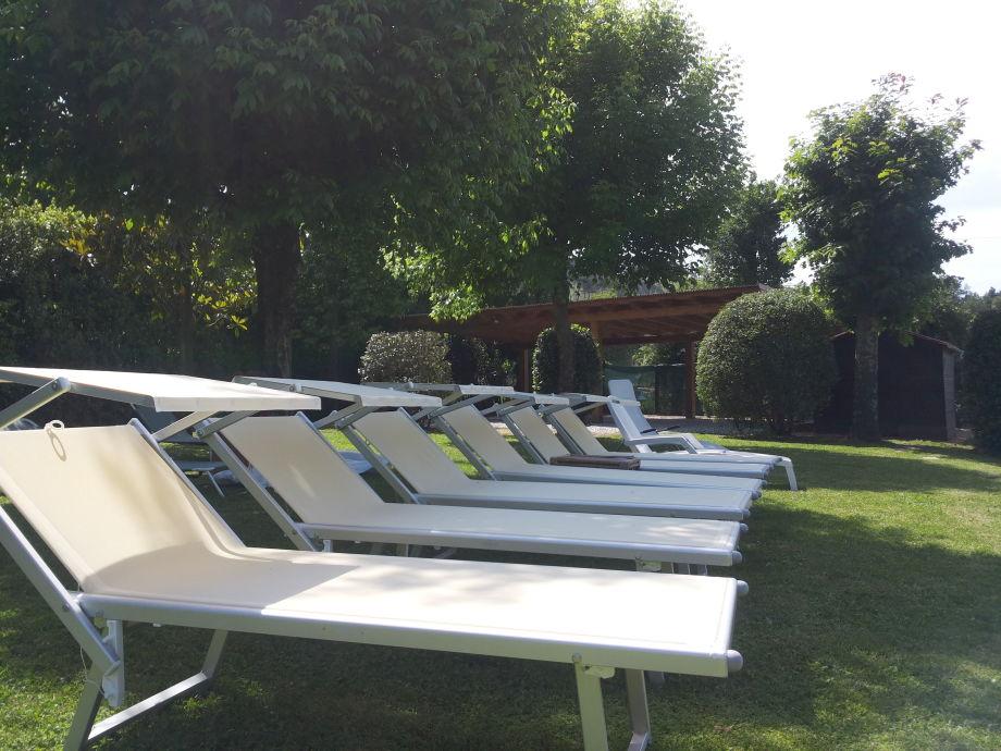 Der Pool mit 7 Sonnenliegen umgeben, Stühle etc.