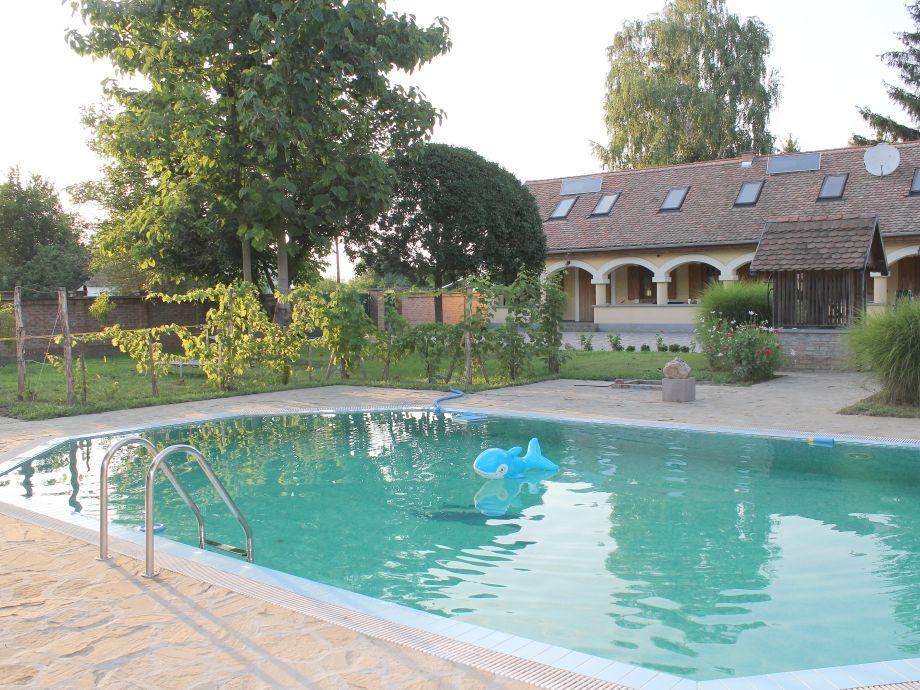 Blick über den Pool zum Haus