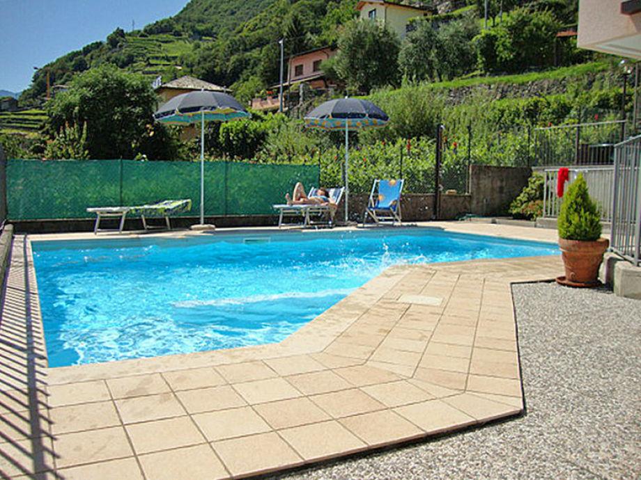 Pool mit Sonnenliegen und Sonnenschirmen