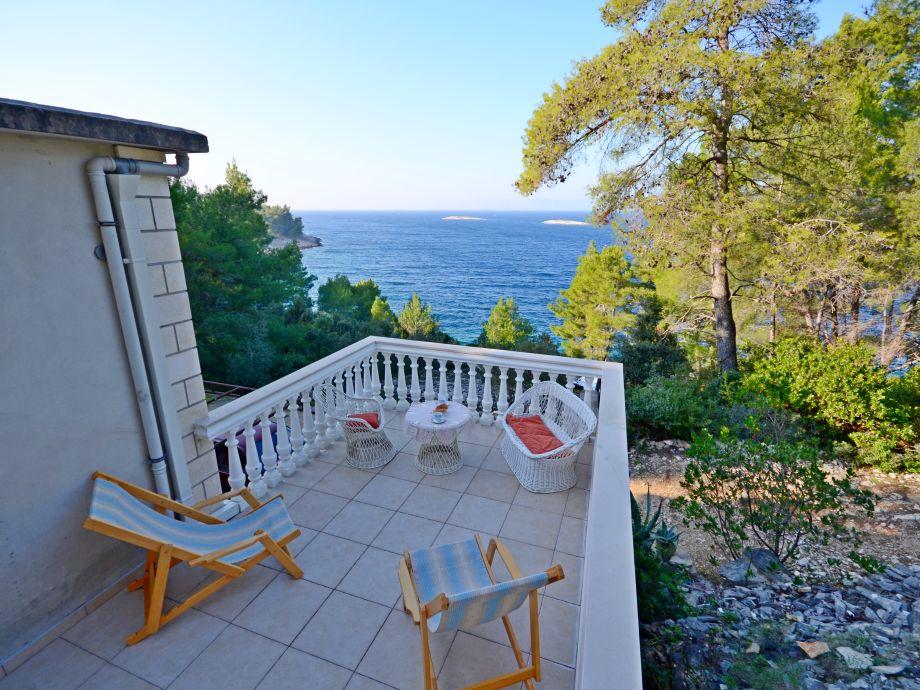 Ausblick von dem Ferienhaus am Meer