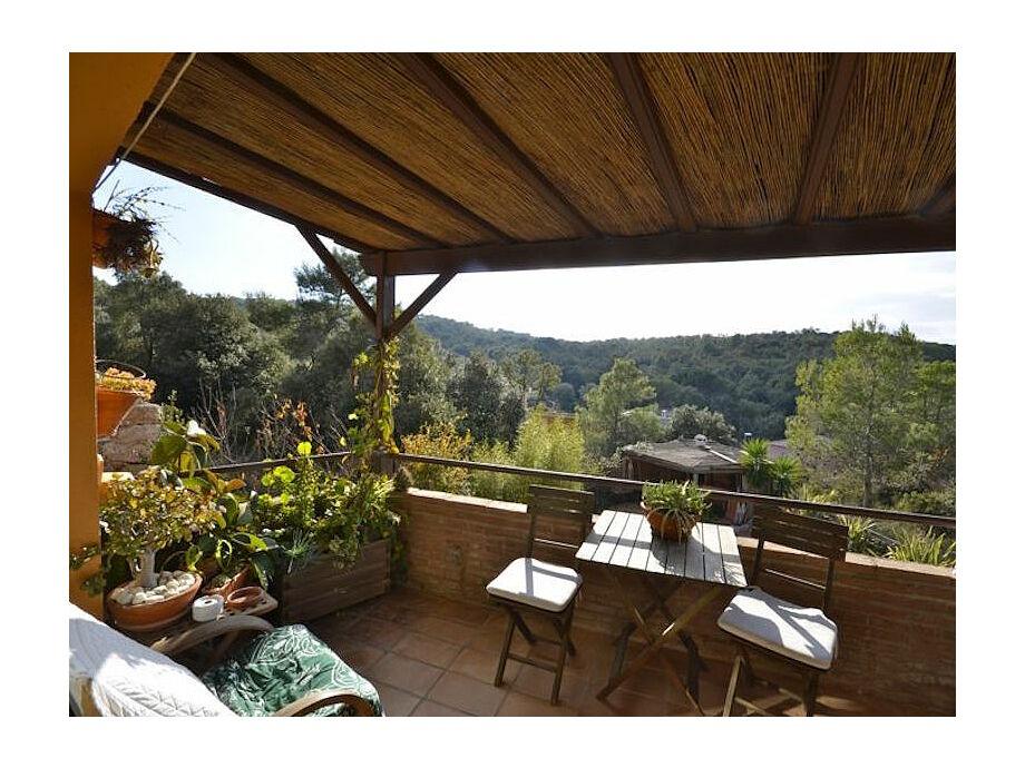 Überdachte Terrasse mit tollem Ausblick