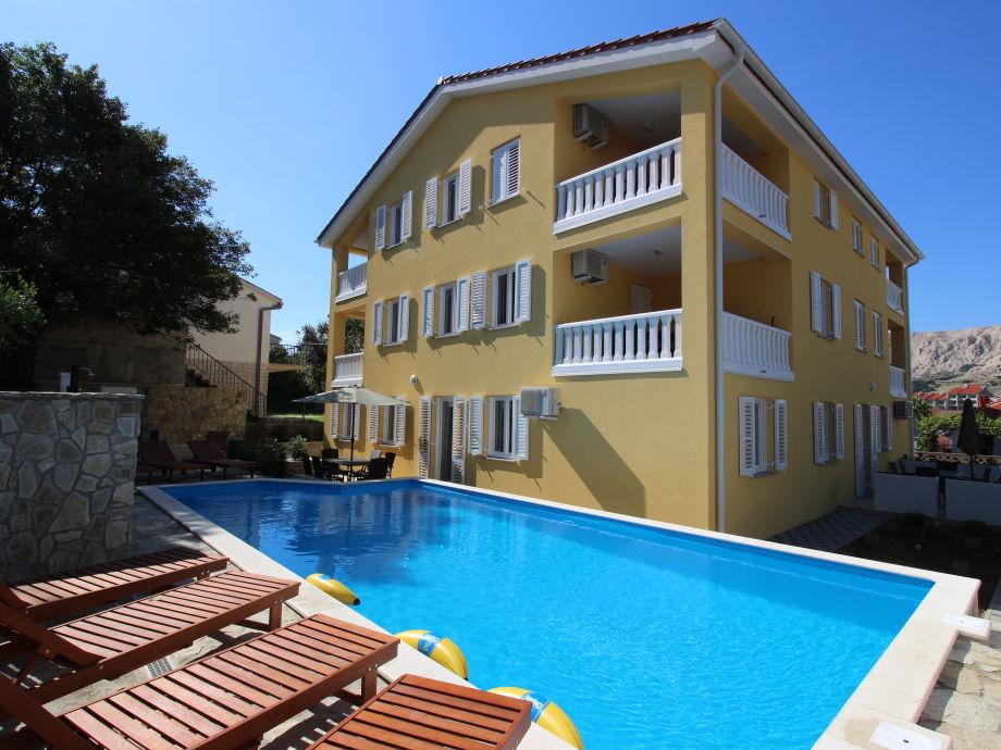 Außenaufnahme Haus Gorica A2+2 mit Pool