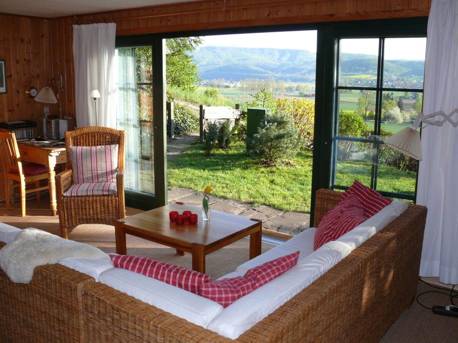 Wohnzimmer mit Panoramablick ins Werratal