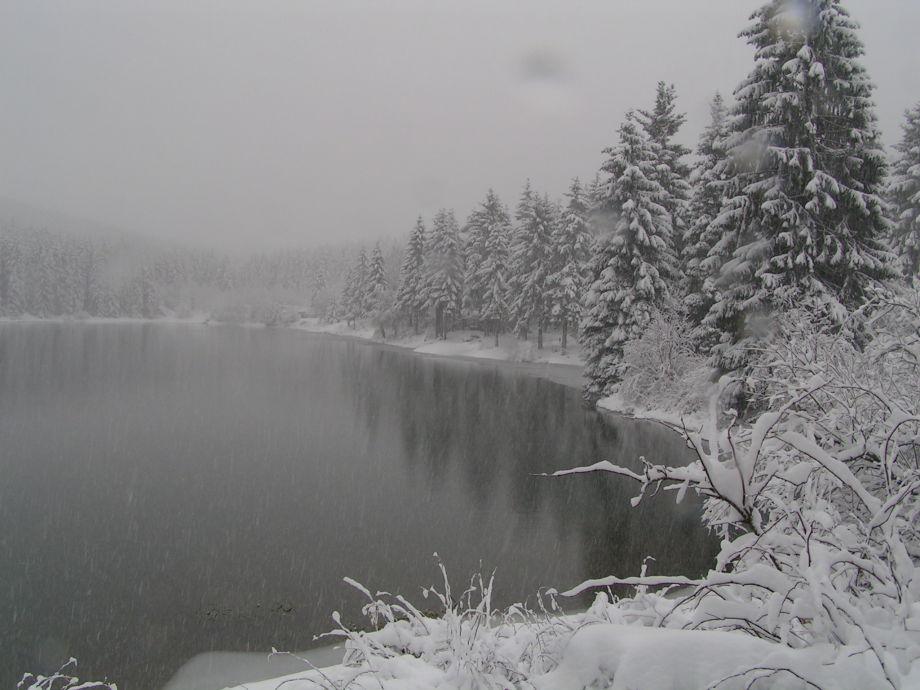 Blockhaus am See  Oberer Grumbacher Teich im Winter