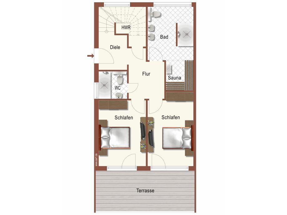 Ferienwohnung villa sonneninsel f 634 mit grossem balkon for Balkon teppich mit tapete sauna
