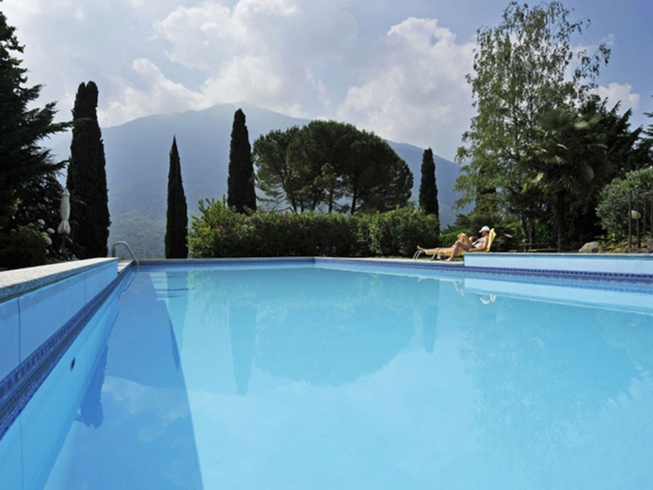 Communal pool with mountain views