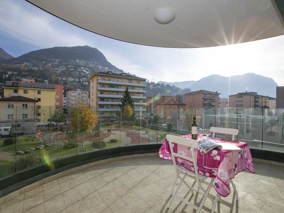 Private balcony with view of Lugano