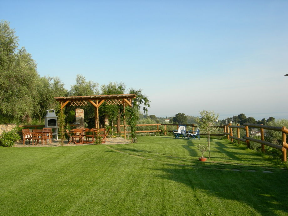 Common panoramic garden behind the house