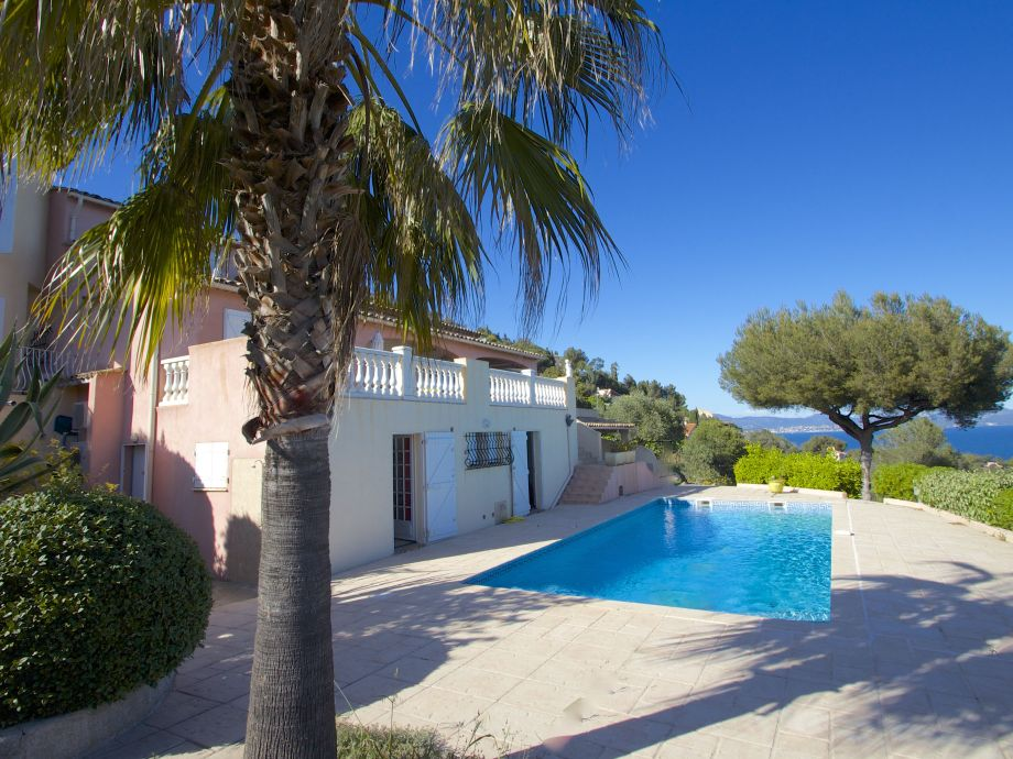 View at the villa with pool and Mediterranean Sea