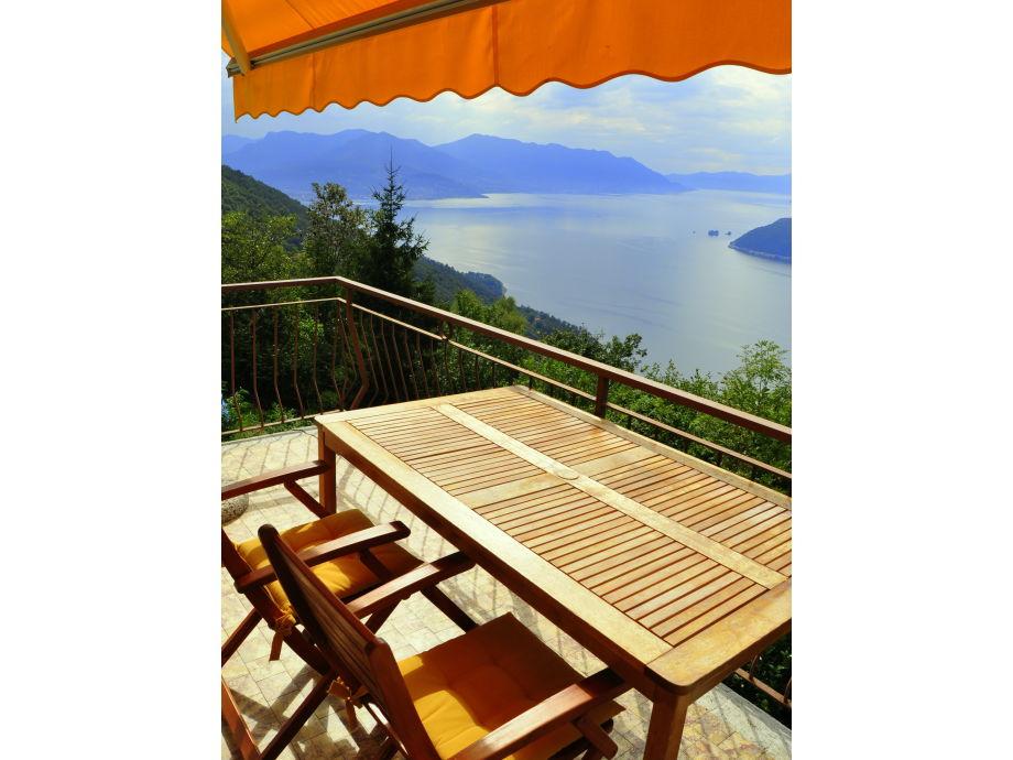 Sonniges Panorama beim Essen auf dem Balkon