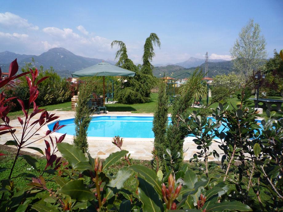 Blick über Pool und Garten