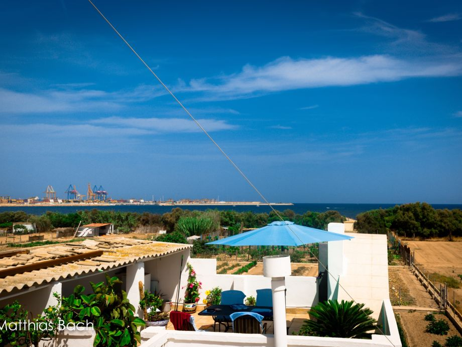 Terrasse blaue Ferienwohnung