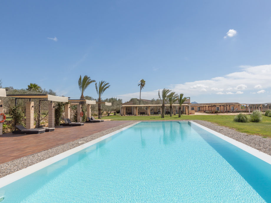 Shared swimming pool with sun loungers to relax