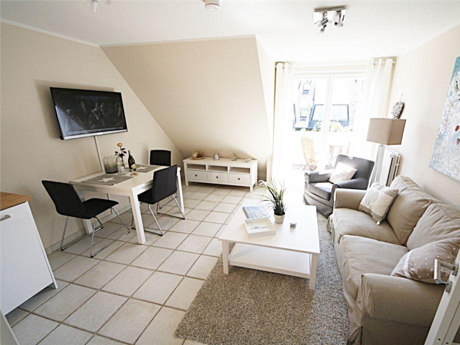 Der stilvoll eingerichtete Wohnbereich der Wohnung 4 des Haus Käpt´n Hein Cors im Osterweg 31
