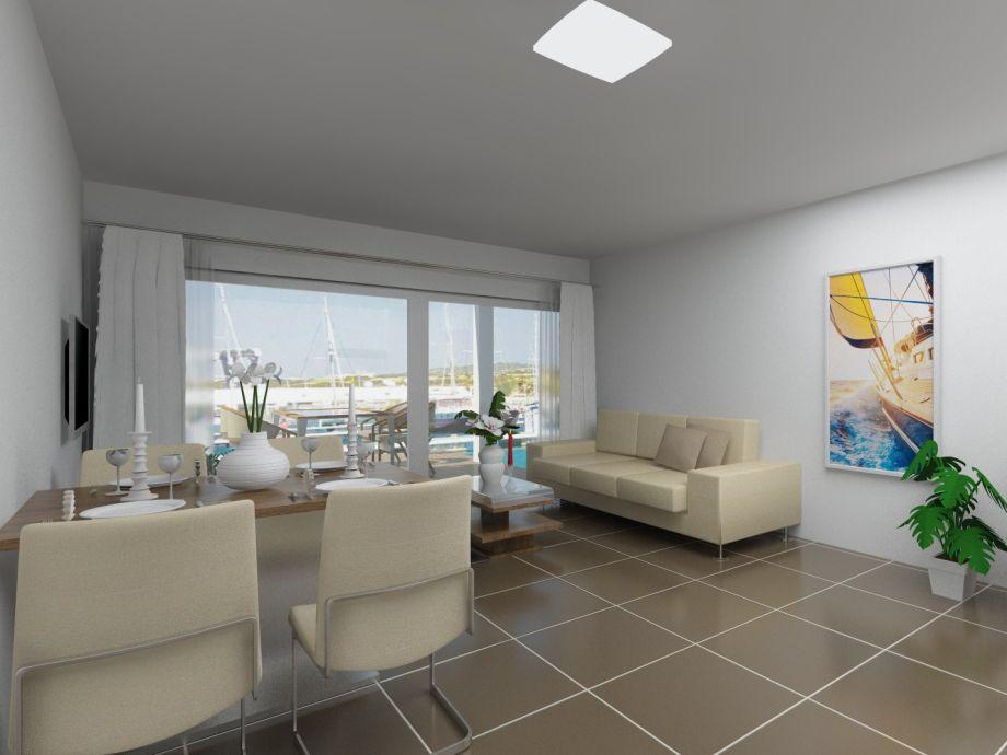 Wohnzimmer mit Müritzblick und gemütlichen Kamin