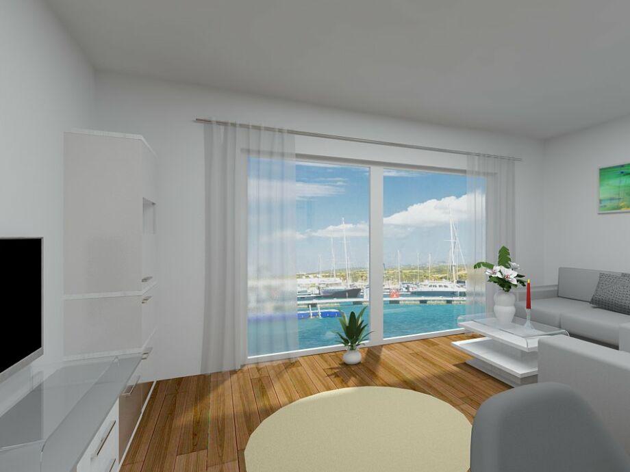 Offener Wohnbereich mit Blick auf den Yachthafen