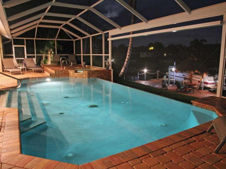 Pool and view above the dock at night