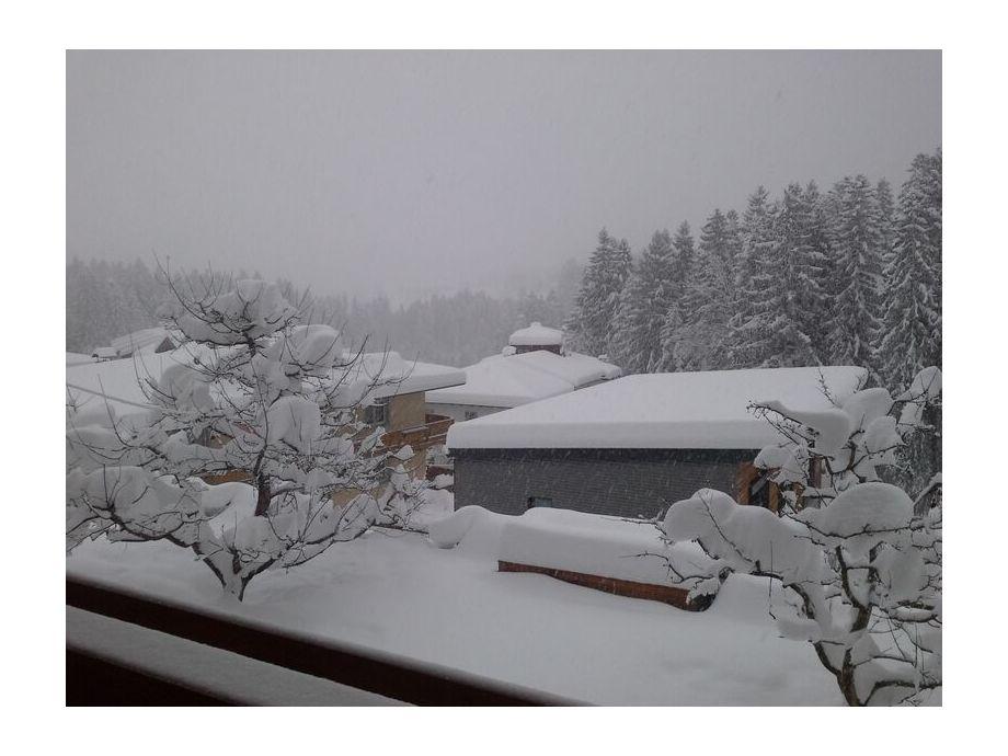 Unser Garten tiefverschneit im Winter 2015