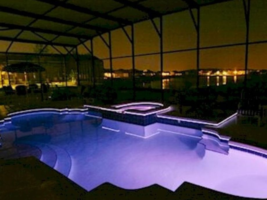Night Time the Pool Changes Colour with Fibre Optics