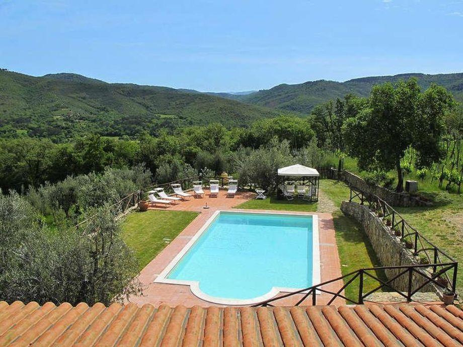 Pool mit Terrasse + Laube sowie herrlicher Aussicht