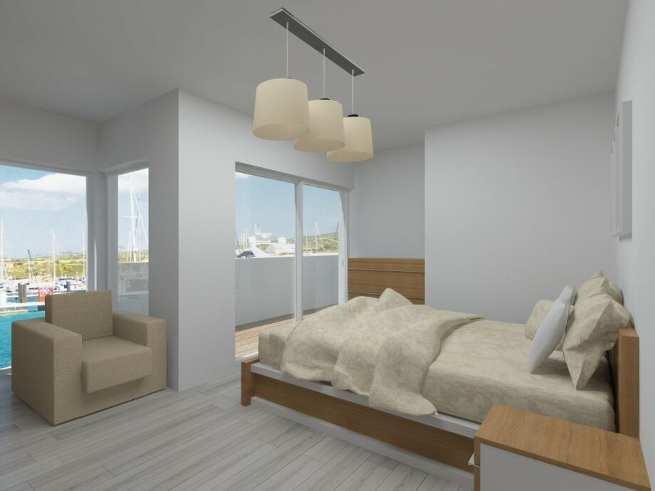 Schlafzimmer mit traumhaften Wasserblick