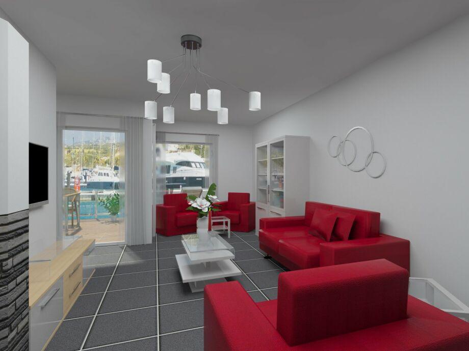 Wohnzimmer mit Blick auf die Müritz und den Yachthafen