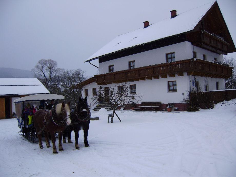 Haus mit Pferdeschlitten