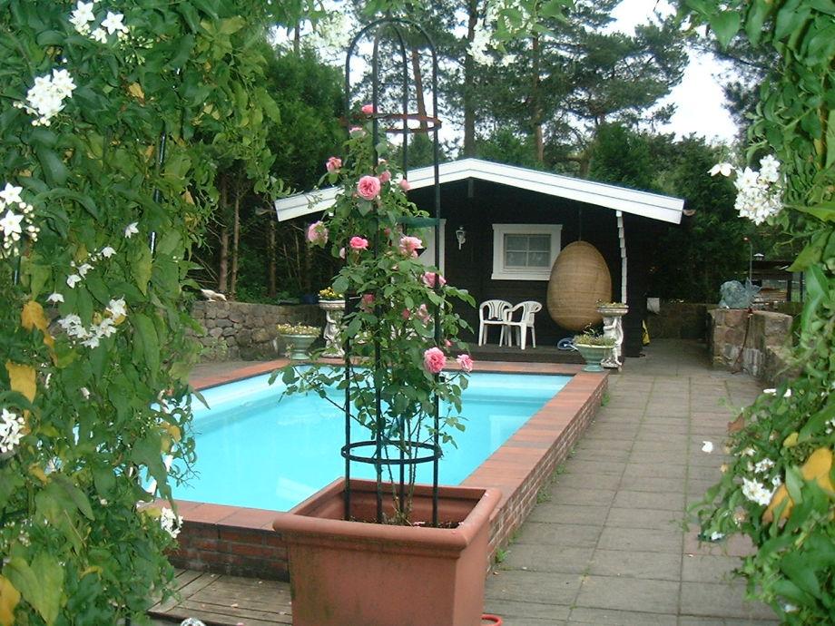 Solar-heated swimming pool and sauna hut