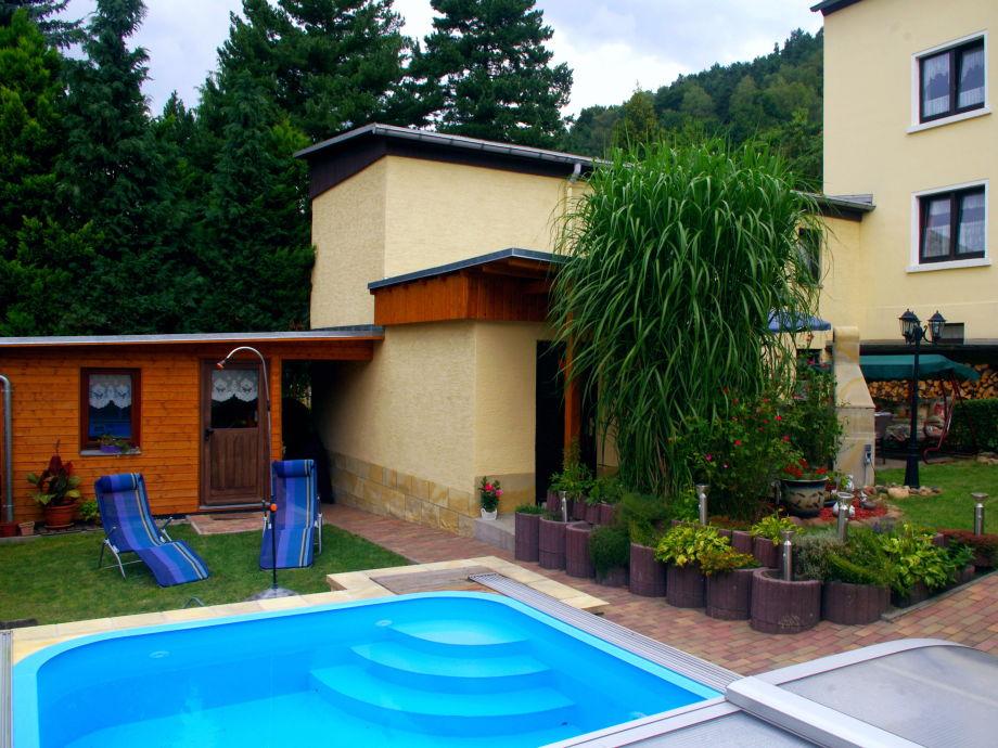 Unser Pool mit Ferienhaus und Garten