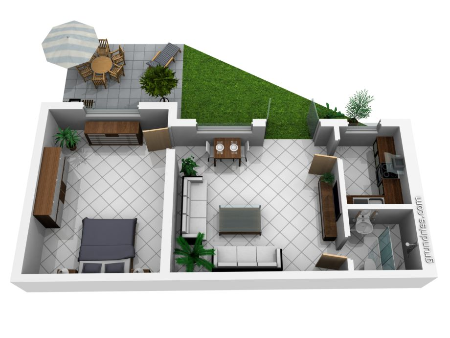 Ferienhaus casita noelia residencial panorama jardin for Casa de 40 metros cuadrados
