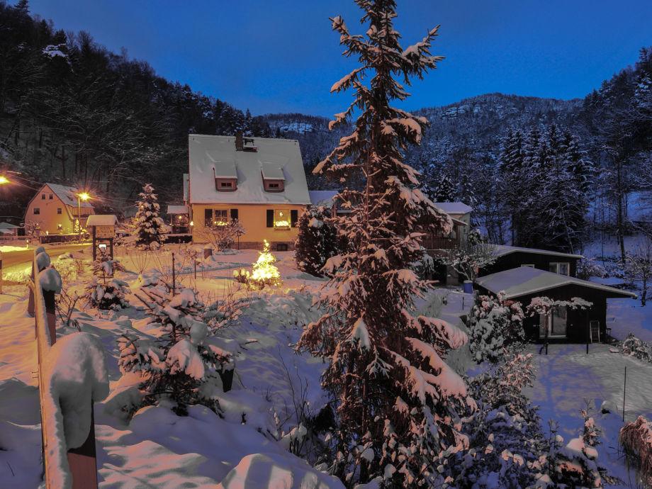 Blick auf das Grundstück im Winter