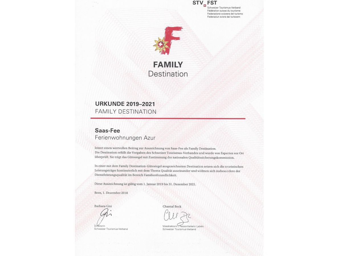 Ferienwohnung Azur Saas Fee Saas Fee Familie Denis Annemieke