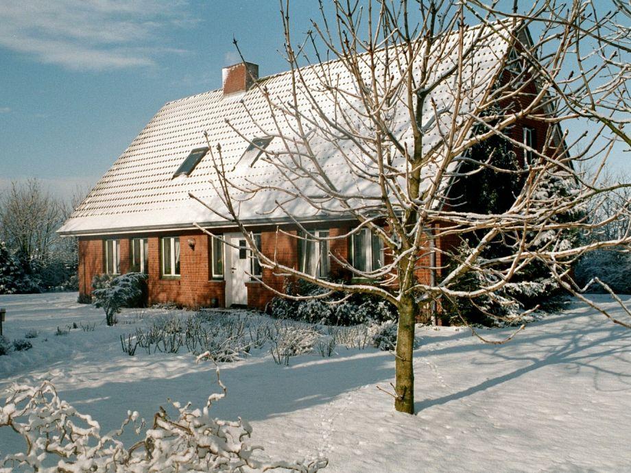 Ferienhaus In der Marsch im Winter.