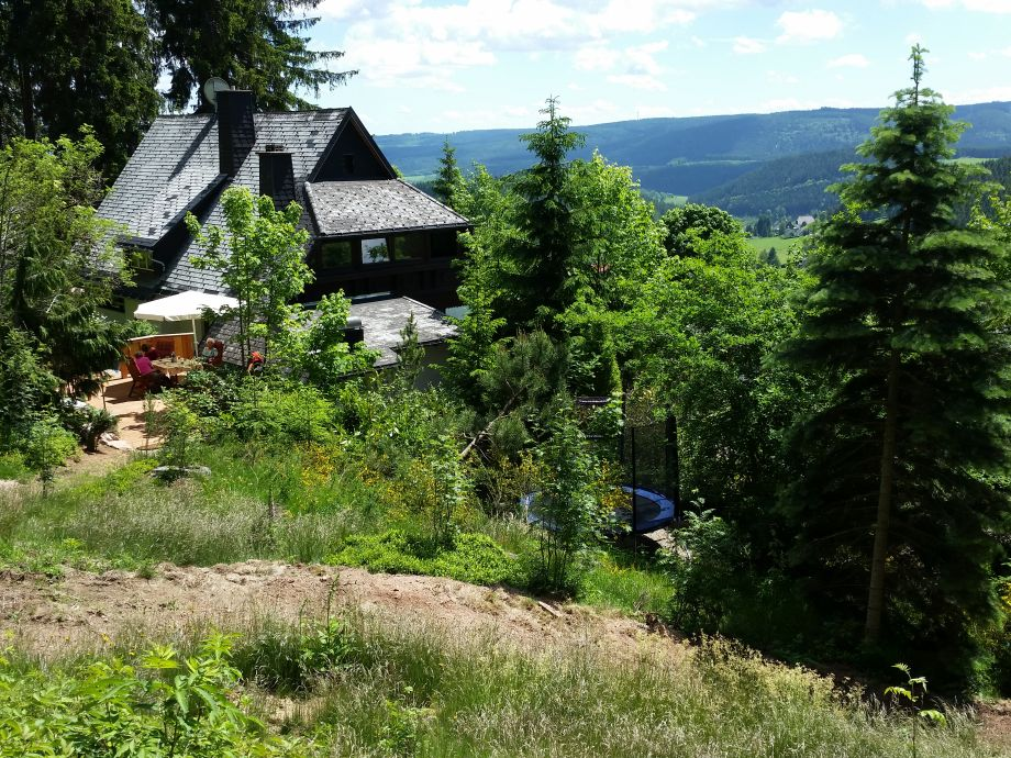 Blick auf`s Haus vom eigenen Waldgrundstück.