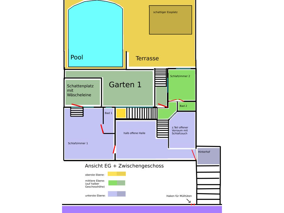Plan   First Floor With Front Garden, Terrace, Pool